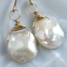 Keshi Pearl Drop Earrings Petal Keshi Pearls by ShopSomethingBlue