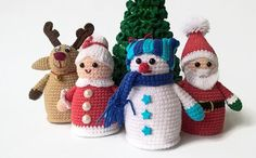 Crocheted Set Christmas Toy - Christmas tree, Santa Claus, Mrs. Santa Claus, Christmas deer and Snowman - 5 pc   Cute Christmas tree, Santa Claus, Mrs. Santa Claus, Christmas deer and Snowman will be a wonderful decoration for your home for Christmas and New Year.    Height of a crocheted Santa Claus 14 cm ( 5.51 )  Down the diameter of the toy 5.5 cm ( 1.97 )    Height of a crocheted Mrs. Santa Claus 12 cm ( 4.72 )  Down the diameter of the toy 5.5 cm ( 1.97 )    Height of the Christmas…