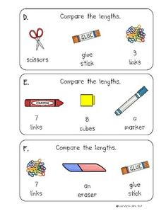 Kindergarten First Grade: Measure It! Measurement Comparing lengths of two objects with a third object First Grade Measurement, Measurement Kindergarten, Ks1 Maths, Measurement Activities, Math Measurement, Kindergarten Math, Teaching Math, Math Activities, Numeracy