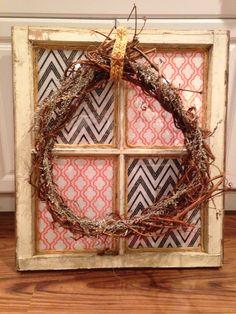 Rustic window and wreath decor
