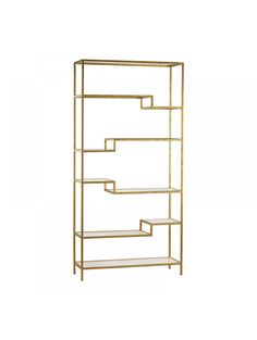 The Sterling Industries Gold and Mirrored Shelving Unit Bookcase is a unique way to show off your keepsakes and picture frames. This mid-century modern piece features slender gold tones with mirrored surfaces. It provides a bold, chic look for any space. Glass Bookshelves, Gold Bookshelf, Gold Shelves, Glass Shelves, Bookcases, Office Bookshelves, Office Shelving, Display Shelves, Gold Etagere
