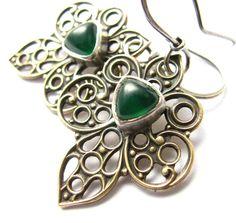 Emerald Green Onyx Earrings Sterling Silver Brass by Mocahete
