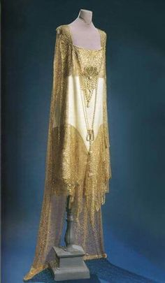 Ivory Satin and Gold Lace evening dress 1920's.....stunning!