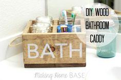 DIY wood bathroom caddy with rope handles Bathroom Caddy, Wooden Bathroom, Bathroom Organization, Bathroom Ideas, Bathroom Crafts, Bath Caddy, Small Bathroom, Bathroom Rugs, Master Bathroom