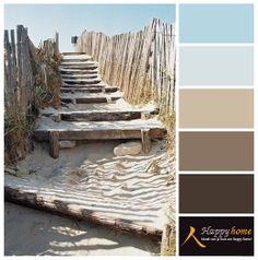Kleurinspiratie van de woonwinkel Happy Home. Prachtige zand kleuren en het verweerde hout in combinatie met blauw. Heel toepasselijk past de kleur Zee van VT wonen perfect. #blue #taupe #natural