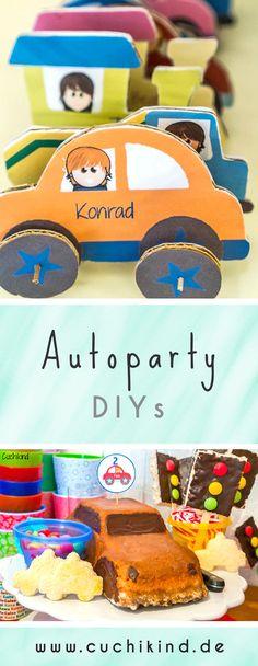 DIYs zum Thema Auto für den Kindergeburtstag. Autos aus Pappe, Autokuchen, Muffinspieße und Ampeln aus Reiswaffeln.