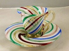 Italian Latticino ribbon glass cup & saucer, excel : Lot Glass Tea Cups - Bing Images// isn't this beautiful Tea Cup Set, My Cup Of Tea, Tea Cup Saucer, Tea Sets, Glass Tea Cups, China Tea Cups, Cuppa Tea, Teapots And Cups, Chocolate Pots