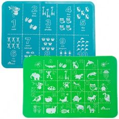 Brinware - Silicone Placemats - ABC + 123 Blue and Green - Cool Mom Picks, Thing 1, Placemat Sets, Baby Wraps, Baby Bottles, Fun Learning, Baby Care, Gifts For Kids, Blue Green
