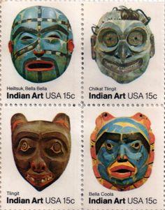 US postage stamps, 15 cent.  Indian Art.  issued 1980.  Heiltsuk, Bella Bella.  Chilkat Tlingit.  Tlingit.  Bella Coola.  Scott catalog 1834 to 1837.