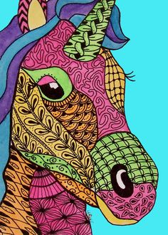 zentangle animals | ... LE Print Unicorn Horse Doodle Fantasy Pony Animal Zentangle LaRusc
