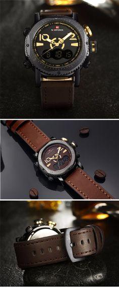 NAVIFORCE NF9094 Fashion Men Digital Watch Leather Strap Dual Display Sport Watch at Banggood