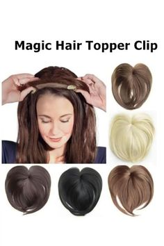 Magic Hair Topper Clip - Ly Rana - Magic Hair Topper Clip There are many color choices to fit your hair and it looks natural like human hair. This hair topper clips easily to cover up sparse hair at the top are of your head. Synthetic Hair Extensions, Human Hair Extensions, Curly Hair Women, Natural Hair Styles, Short Hair Styles, Hair Toppers, Magic Hair, Hair Dos, Hair Pieces