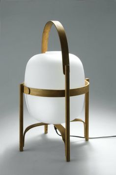 Miguel Milá; Bent Plywood and Opaque Glass Table Lamp, 1962.