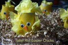 toilet roll easter chicks - happy hooligans - easter crafts for kids Easy Easter Crafts, Easter Art, Easter Projects, Bunny Crafts, Easter Crafts For Kids, Toddler Crafts, Preschool Crafts, Projects For Kids, Easter Ideas