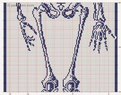 This is interesting . a life size filet skeleton! I was poking around the picasaweb albums website and I saw this by Cee Add in one of . Halloween Knitting, Halloween Cross Stitches, Halloween Crochet, Filet Crochet, Crochet Cross, Cross Stitching, Cross Stitch Embroidery, Cross Stitch Patterns, Beading Patterns