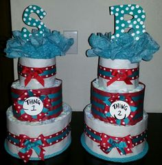 Great My Thing 1 U0026 Thing 2 Diaper Cakes!