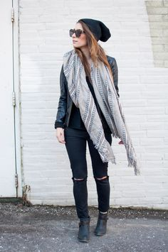 distressed black jeans and Aritzia coquette blanket scarf
