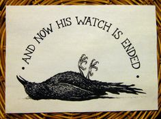 Dead Crow Night's Watch Game of Thrones inspired handmade screen printed back patch, black on natural