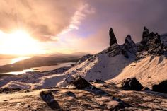 Skye is breathtaking any time of the year but visiting Skye in winter is extra special. Here are 6 reasons why you should visit skye in winter. West Coast Scotland, Time Of The Year, Beautiful Beaches, Lighthouse, Mount Everest, Waterfall, Castle, Mountains, Winter