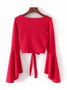 Come across an affordable & extremely versatile assortment of womanly females' blouses. Teen Fashion Outfits, Red Fashion, Outfits For Teens, Hijab Fashion, Chic Outfits, Girl Outfits, Red Blouses, Blouses For Women, Bell Sleeve Dress