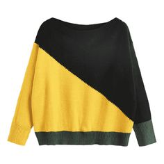 Color Block Slash Neck Sweater Yellow (€19) ❤ liked on Polyvore featuring tops, sweaters, colorblock sweaters, slash neck top, colorblocked sweater, boat neck sweater and bateau neck top