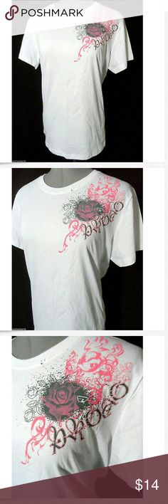 """PROTO Paintball T-shirt Tops M White Pink rose SS Individual monitors may display slightly different tones and colors...  NEW WITH TAGS-  PROTO Paintball Tee shirts  TAG SIZE:These are mis-tagged as XXL- actually fit M BUST: 40"""" LENGTH: 26"""" from top of the shoulder down  Fantastic Rosette Scroll graphics 100% Cotton Short sleeve Wider crew neck Paintball brand White, gray and Pink in color NEW NEW NEW! Proto Tops Tees - Short Sleeve"""