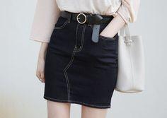 10's trendy style maker 66girls.us! Denin Contrast Stitched Skirt (DGPZ) #66girls #kstyle #kfashion #koreanfashion #girlsfashion #teenagegirls #fashionablegirls #dailyoutfit #trendylook #globalshopping