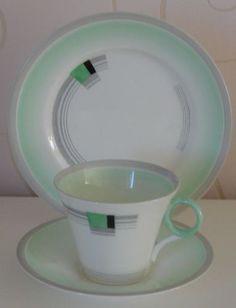 Art Deco Shelley Regent Shape Trio Cup Saucer Plate Modernist Blocks Bands | eBay