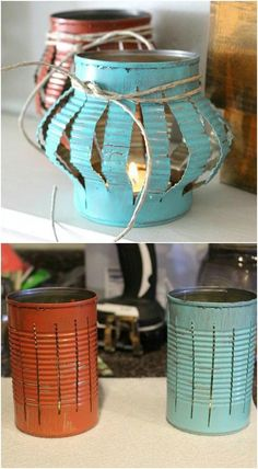 Yes, you can buy stunning lanterns and lamps online. But how about trying to make some DIY lanterns this time. It will help to give a nice personal touch to your decoration. home diy 13 DIY Lanterns To Light Up Your Outdoor Space : Home Decor Projects Tin Can Crafts, Diy And Crafts, Arts And Crafts, Upcycled Crafts, Crafts With Tin Cans, Recycled Decor, Easy Crafts, Diy Upcycled Garden Ideas, Décor Crafts