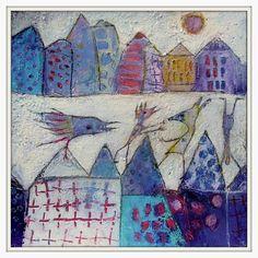 La Rentrée des classe-Back to School acrylic on paper size 25x25cm Elke Trittel
