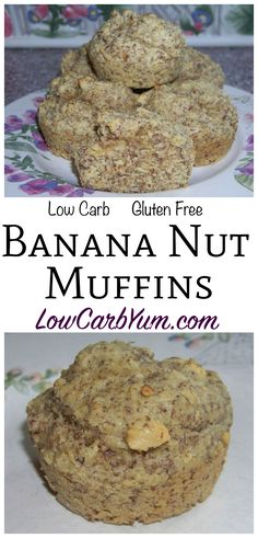 These yummy gluten free banana nut muffins are made healthy with almond and flax meal. To keep it low carb, banana extract is used instead of real bananas. Banting LCHF THM Keto