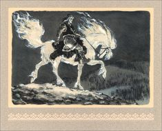 Canis Albus Kalevala illustrations by Nicolai Kochergin Grim Fairy Tales, Horse Illustration, Detailed Paintings, Fairytale Art, Mythological Creatures, Art Studies, American Artists, Game Art, Fantasy Art