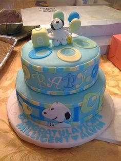 Snoopy Cake For My Friendu0027s Baby Shower. The Design Was Based On The Border,