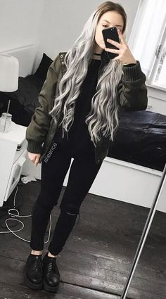 with jacket, black top, ripped pants & Creepers by alieence -You can find Alternative f.Choker with jacket, black top, ripped pants & Creepers by alieence -You can find Alternative f. Grunge Look, Black Grunge, Hipster Grunge, Style Grunge, Edgy Style, 90s Grunge, Soft Grunge, Hipster Outfits, Edgy Outfits