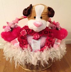 SALE Handmade Pink & White Fluffy PUPPY LOVE Rose Wreath Gift Basket by cappelloscreations, $75.00 @Etsy
