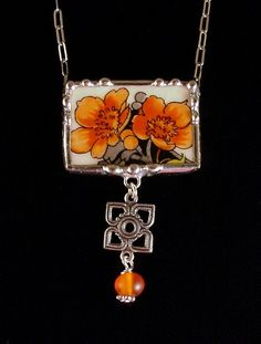 Art Deco poppies Broken china jewelry necklace by Laura Beth Love Dishfunctional Designs