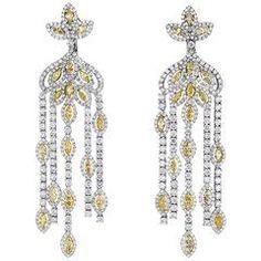 Hanging Diamond Earrings Fancy Yellow and White Diamonds