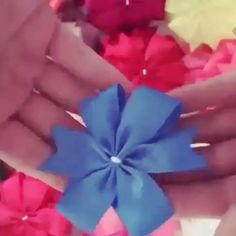 ✔ Handmade Videos Crafts For Girls Paper Flowers Craft, Flower Crafts, Fabric Flowers, Diy Flowers, Diy Ribbon, Ribbon Crafts, Ribbon Flower Tutorial, Hair Bow Tutorial, Ribbon Art