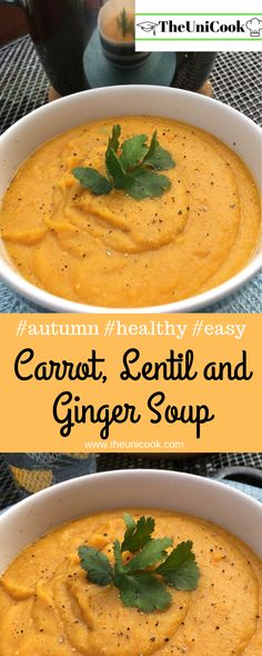 It´s getting colder outside and Autumn and Winter are just around the corner! Time to start making soup again, and this carrot, lentil and ginger soup is a great one to start with! Fall Soup Recipes, Lentil Recipes, Healthy Soup Recipes, Healthy Cooking, Vegetarian Recipes, Cooking Recipes, Veggie Recipes, Healthy Eating, Carrot Soup Easy