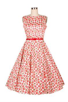 '50s Style Strawberry Printed Dress