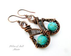 Wire wrapped earrings / turquoise magnesite / copper jewelry by PillarOfSaltStudio