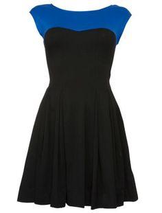 Blue Pattern (Blue) Black and Blue Block Yoke Skater Dress   264336949   New Look