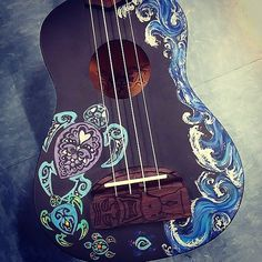 Custom Painted Ukulele made to order by GargoylePastures on Etsy Arte Do Ukulele, Ukulele Songs, Ukulele Chords, Painted Ukulele, Painted Guitars, Ukulele Design, Guitar Painting, Cool Guitar, Guitar Art Diy