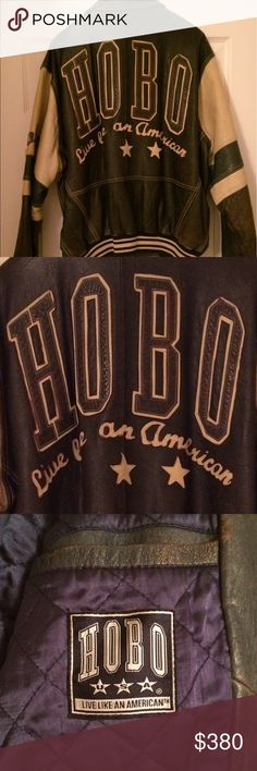 "Leather Vintage HOBO coat (UNISEX) This is a beautiful Vintage HOBO leather coat that says, ""HOBO, live like an American"" This coat is in EXCELLENT condition. There are No rips, stains or tears. It is a size L but fits more like an XL. This comes from a NON SMOKING household. Very well taken care of. This will be a piece you can cherish for many years to come! You will NOT be dissatisfied! This item does NOT qualify for a bundle discount. No holds and no trades pls HOBO Jackets & Coats"