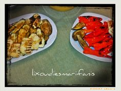 Οι λιχουδιές της Μαριφάνης: Ψητά λαχανικά και χαλούμι με σως μπαλσάμικου!!! Waffles, Meat, Chicken, Breakfast, Food, Morning Coffee, Waffle, Meals, Yemek