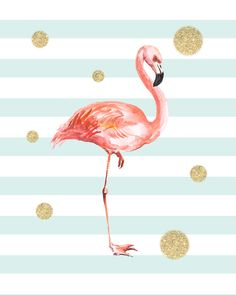Downloadable print, nursery wall art Mint & Coral Flamingo nursery print with gold glitter dots. - High quality PDF and JPEG files - Sizes 5x7, 8 x10,