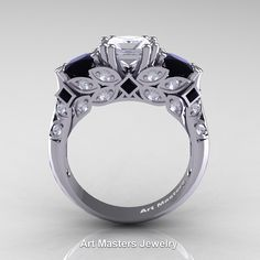 Classic Armenian 14K White Gold Three Stone Princess White and Black Diamond Solitaire Engagement Ring R500-14KWGBDD