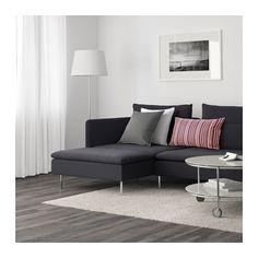 SÖDERHAMN 4-seters sofa - med sjeselong/Samsta mørk grå - IKEA