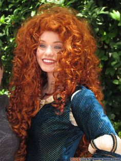 """Merida was the """"must see"""" princess for both of my girls this year. They met her as soon as they left the Bibbidi Bobbidi Boutique looking like her!"""