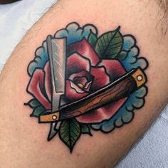 Guy With Blade And Rose Neo Traditional Tattoo Guys Arms